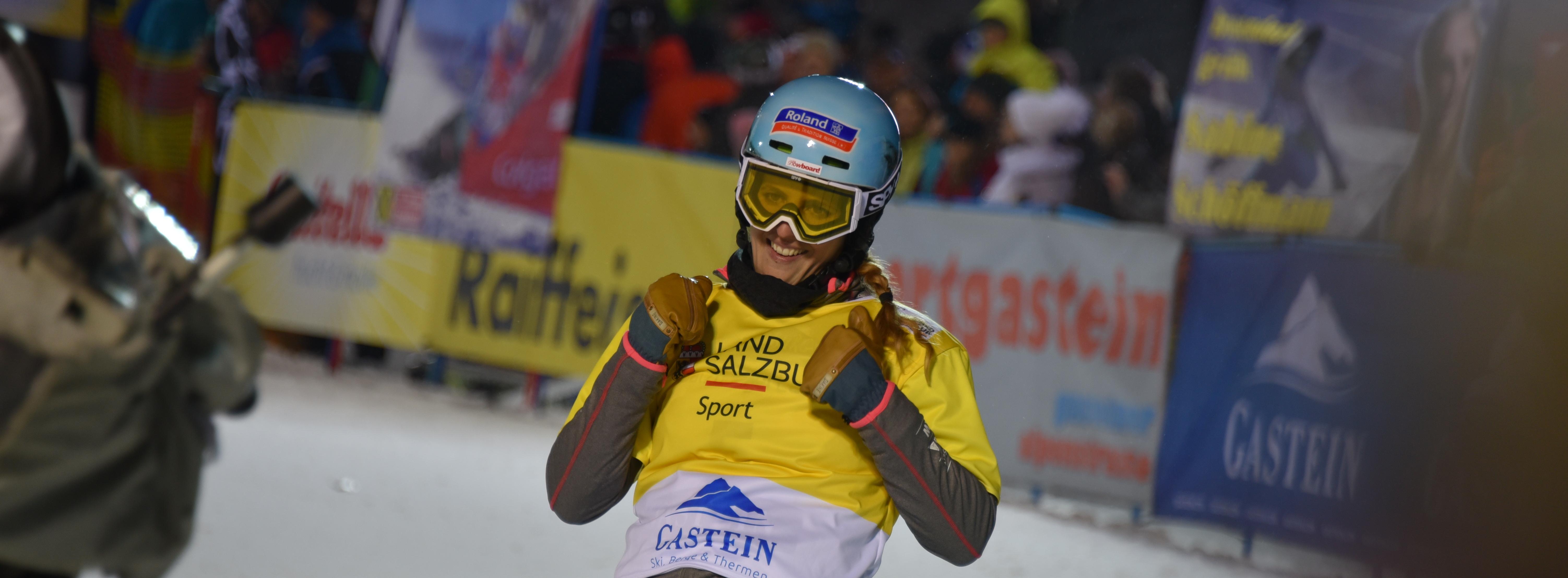 Patrizia Kummer jubelt über den Sieg am Weltcuprennen in Bad Gastein im Januar 2016.