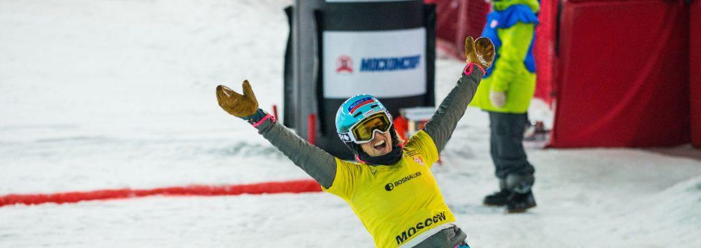 Patrizia Kummer jubelt über ihren Weltcupsieg in Moskau im Januar 2016.