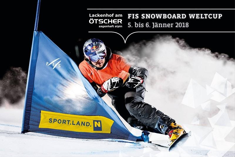 Poster zum Snowboardweltcup in Lackenhof am Ötscher, Österreich.